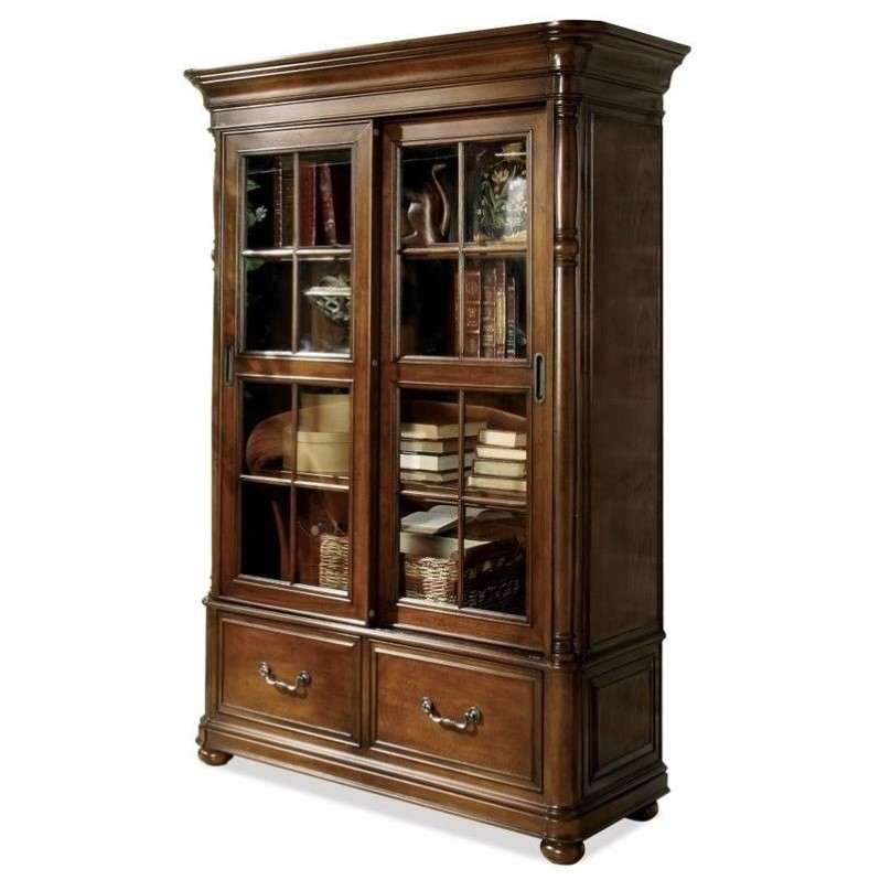 Riverside Furniture Bristol Court Sliding Door Bookcase in Cognac Cherry