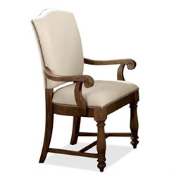 River Furniture Castle UpholsteredArm Dining Chair in Warm Tobacco