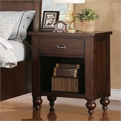 Riverside Furniture Castlewood 1-Drawer Nightstand in Warm Tobacco