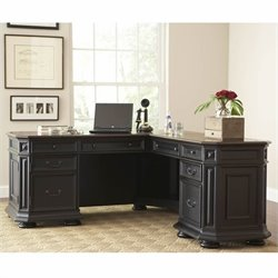 Riverside Furniture Allegro L Shaped Computer Desk in Black