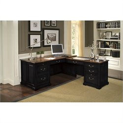 Riverside Furniture Bridgeport Workstation in Antique Black/Burnished Cherry