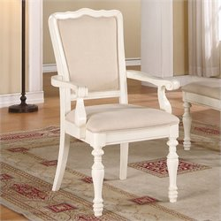 River Furniture Placid Cove Upholstered Arm Dining Chair in Honeysuckle White