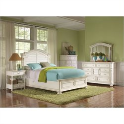 Riverside Furniture Placid Cove Arch Bedroom Set in Honeysuckle White