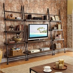 Riverside Furniture Camden Town 3 Piece Leaning TV Stand Set in Hampton Road Ash