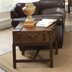 Riverside Furniture Latitudes Suitcase End Table in Aged Cognac Wood