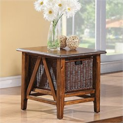 Riverside Furniture Claremont Rectangular End Table in Toffee