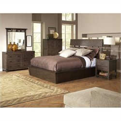 Riverside Furniture Promenade Slat Panel Bedroom Set in Warm Cocoa