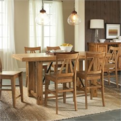 Riverside Furniture Summerhill Gathering Height Dining Table in Canby Rustic Pine