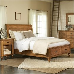 Riverside Furniture Summerhill Sleigh Storage Bed in Canby Rustic Pine