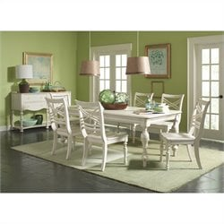 Riverside Furniture Placid Cove Rectangular Dining Table Set in Honeysuckle White