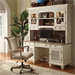 Riverside Furniture Coventry Shutter Door Credenza in Weathered Driftwood and Dover White