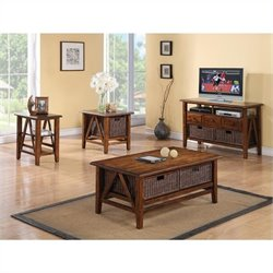 Riverside Claremont 4 Piece Coffee Table Set in Toffee