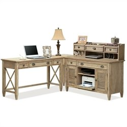 Riverside Furniture Coventry L-Shape Office Set in Weathered Driftwood
