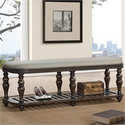 Riverside Furniture Belmeade Upholstered Bed Bench in Old World Oak