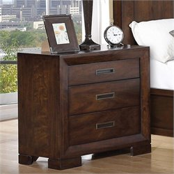 Riverside Furniture Riata Three Drawer Nightstand in Warm Walnut