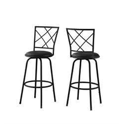 Metal Bar Stool in Black (Set of 2)