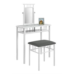 2 Piece Metal Vanity Set in White