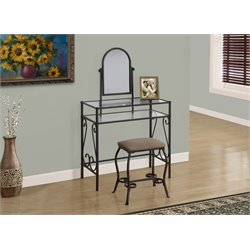 2 Piece Metal Vanity Set in Brown