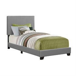Leather Upholstered Twin Bed in Gray