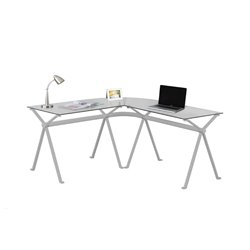 Metal L Shaped Computer Desk in Silver