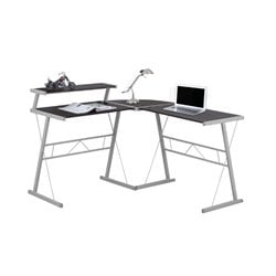 Metal L Shaped Computer Desk in Cappuccino