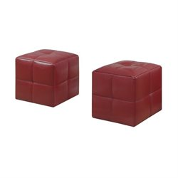 Leather Cube Ottoman in Red (Set of 2)