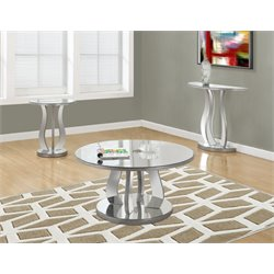 3 Piece Mirrored Coffee Table Set in Brushed Silver