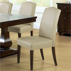 2 Piece Leather Dining Chair in Tan