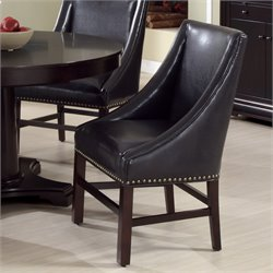2 Piece Leather Dining Chair in Dark Brown
