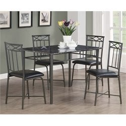 5 Piece Faux Marble Top Dining Set in Gray