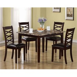 5 Piece Faux Marble Top Dining Set in Dark Cherry