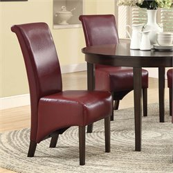 Faux Leather Dining Chair in Burgundy (Set of 2)