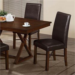 Faux Leather Dining Chair in Modern Oak and Brown (Set of 2)