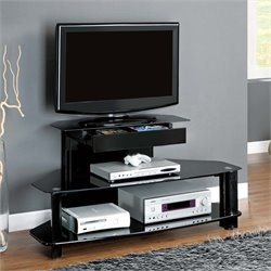 Glass Metal TV Stand in Glossy Black