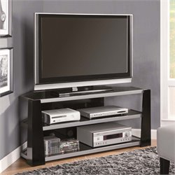Corner Glass Metal TV Stand in Glossy Black and Silver