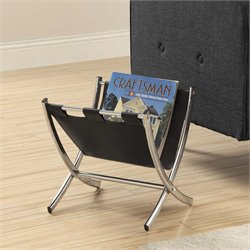 Faux Leather Magazine Rack in Black and Chrome
