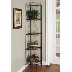 4 Shelf Corner Metal Etagere in Dark Copper Brown