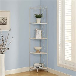 4 Shelf Corner Metal Etagere in White