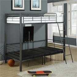 Adjustable Twin Over Twin Metal Bunk Bed in Charcoal Gray