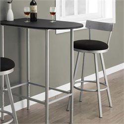 Swivel Metal Bar Stool in Black and Silver (Set of 2)