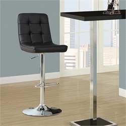 Adjustable Faux Leather Swivel Bar Stool in Black (Set of 2)