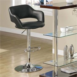 Adjustable Faux Leather Swivel Bar Stool in Black