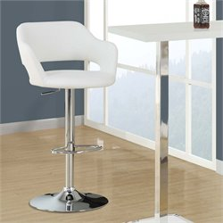 Adjustable Faux Leather Swivel Bar Stool in White