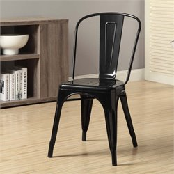 Metal Dining Chair in Glossy Black (Set of 2)