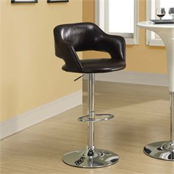 Adjustable Faux Leather Swivel Bar Stool in Dark Brown