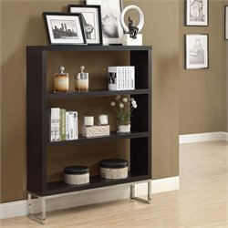 3 Shelf Bookcase in Cappuccino and Chrome