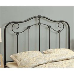 Full Queen Metal Slat Headboard in Coffee