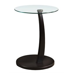 Round Glass Top Side Table in Cappuccino