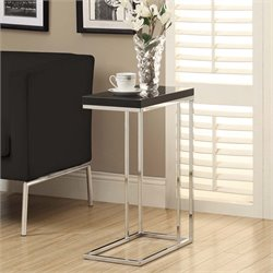 Side Table in Glossy Black and Chrome