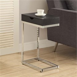 Drawer Side Table in Cappuccino and Chrome